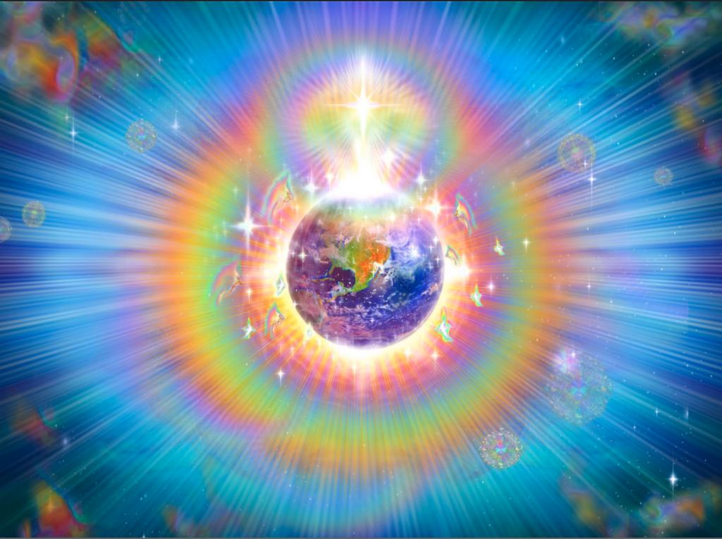 Energie arc en ciel entourant la Terre